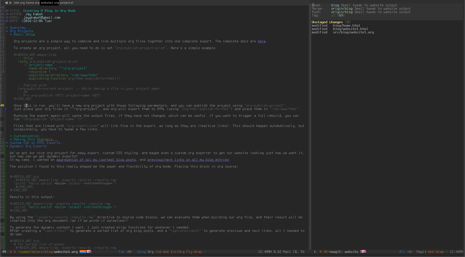 Creating A Blog in Org Mode
